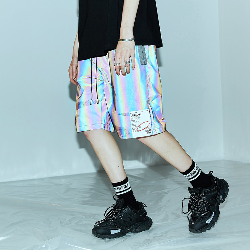 Summer Tide Couple Loose Colorful 3M Reflective Shorts Male Hip Hop Ins Casual Short Pants Chic Shorts