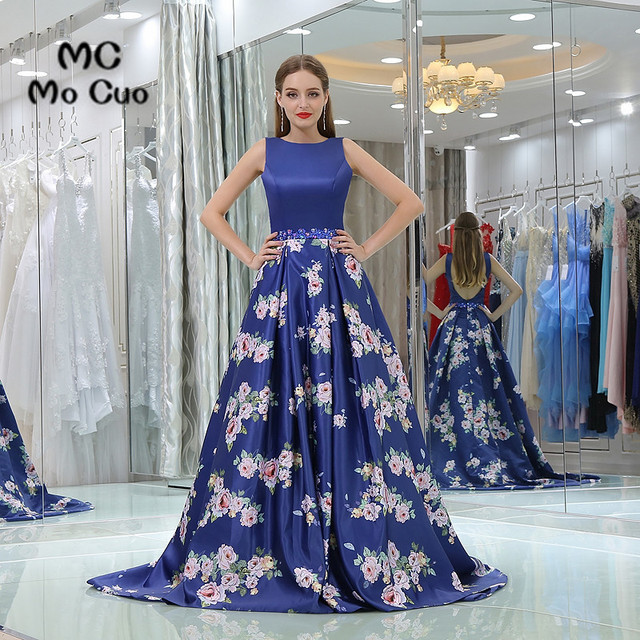 dfac0c3395c40 Yeni Varış 2017 Royer Mavi Balo elbiseler ile Baskı Desen uzun mezuniyet  elbiseleri Backless Akşam Balo