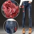 Mujeres Vintage Floral Bordado Jeans femme Plus Size Vintage Mujer 2017 Casual de Las Señoras Azul Lápiz Pantalones de Mezclilla E574