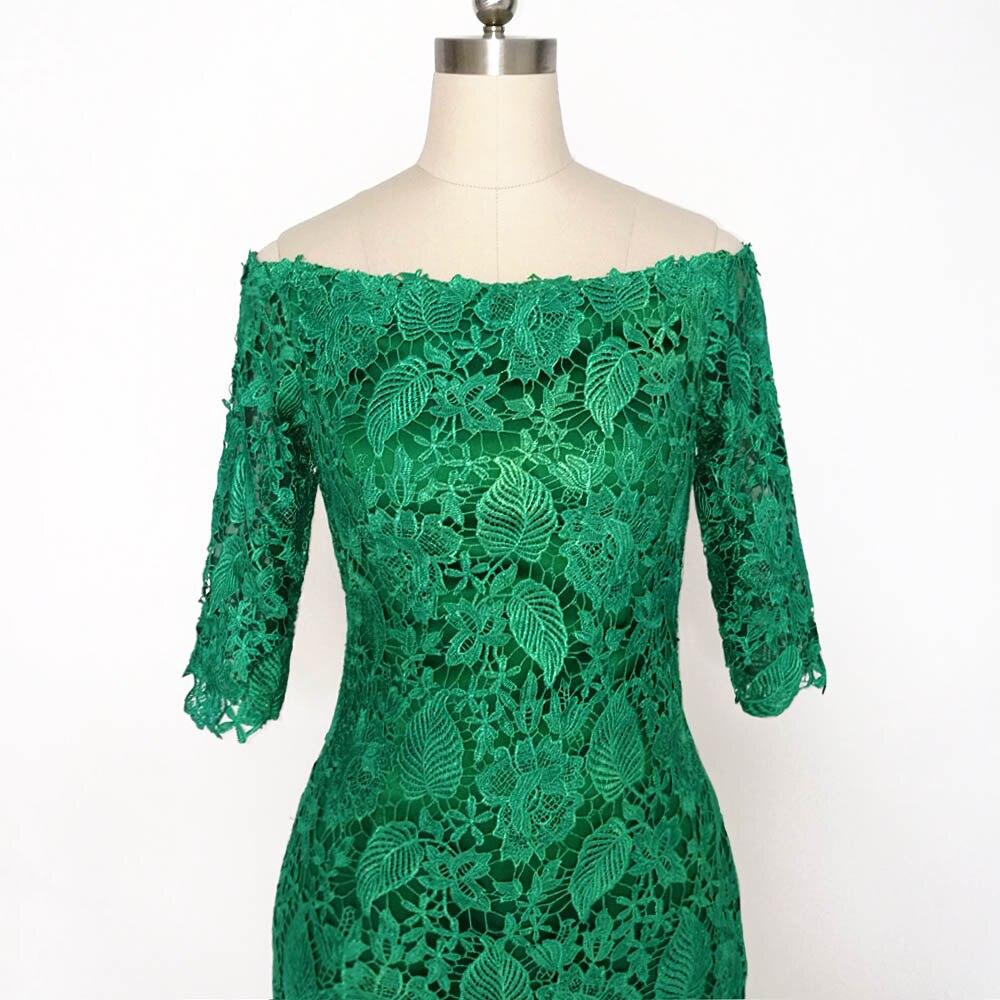 E JUE SHUNG Grønn Lace Off Shoulder Short Evening Dresses 3/4 - Spesielle anledninger kjoler - Bilde 4
