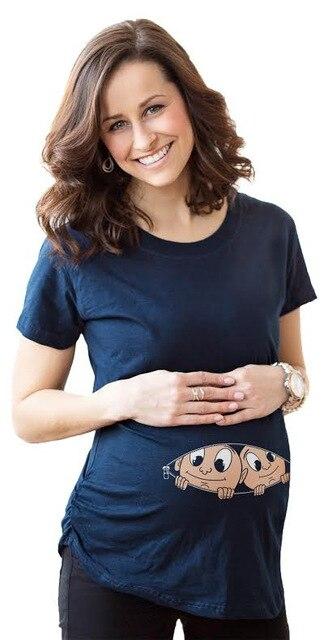 2eb7d4850 Gemelos impresión maternidad embarazada camisetas Shorts Casual embarazo  ropa para mujeres embarazadas ropa Gravida algodón Vestidos