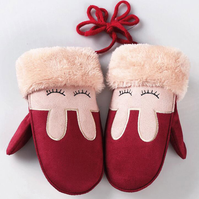 Lovely Cartoon Rabbit Children's Winter Thick Cashmere Cotton Warm Suede Leather Mittens Boy/Girls Faux Sheepskin Gloves 100D