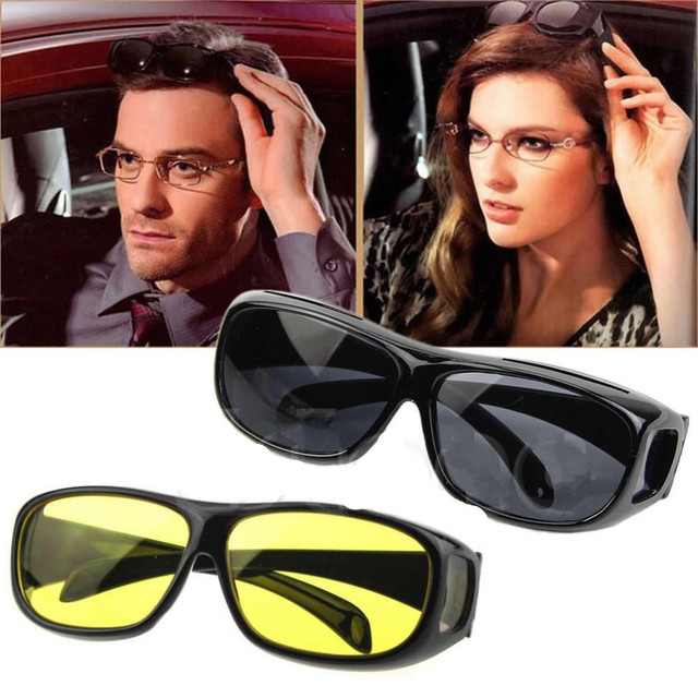 b39ed93f666 2PC set New HD Vision Car Driving Wrap Sunglasses Wraparounds Eyewear  Glasses for Driver Fits