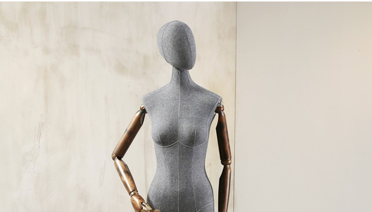 Props female half body mannequin cloth display rack high quality fashion mannequin women fabric mannequin with wooden arms (13)