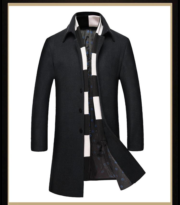 e859efdbd VISADA JAUNA 2017 Moda Men 's Wool Coat Scarf Two Piece Casual Long Coat  Men Cotton Winter Slim Fit Coat Hombres Jacket N5847