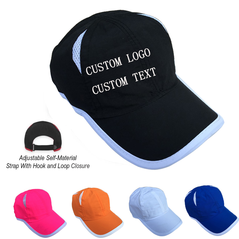cheap customized baseball hats no minimum custom design font print nylon dry fast caps