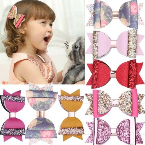 Nueva Marca niños bebé niñas lentejuelas pelo moño horquillas Bowknot accesorios diadema