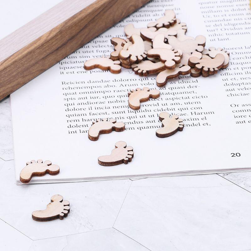 100pcs Laser Cut Wood Foot Embellishment Wooden Shape Craft Wedding Decor