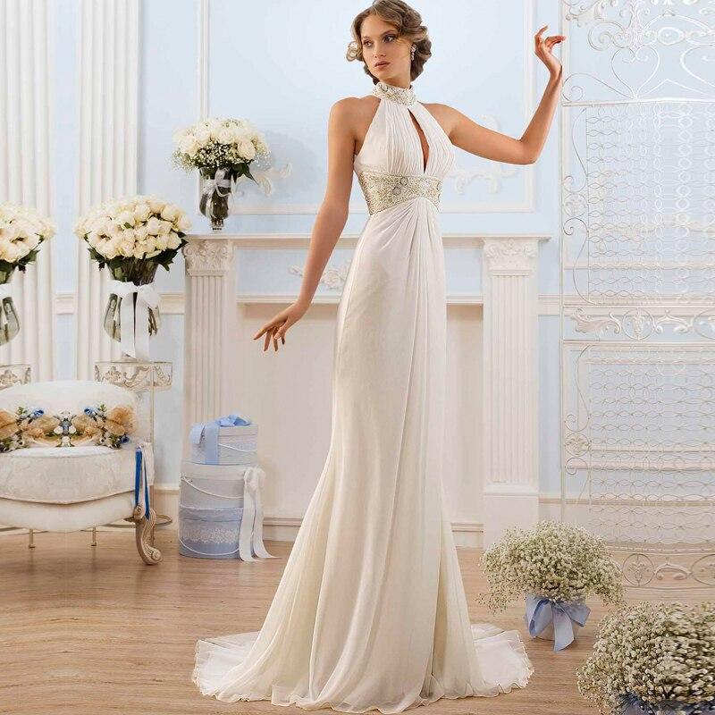 Tienda Online 2016 estilo griego elegante blanco De marfil De la boda Vestidos De cuello alto talón De playa Vestidos De Novia moda Vestidos De Novia barato