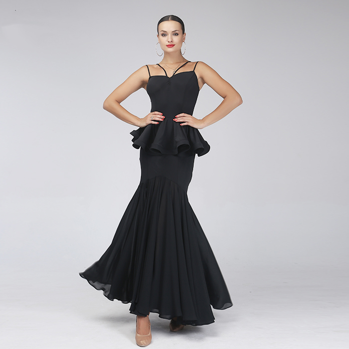 black modern dance dress standard ballroom dress dance wear ballroom dance competition dresses fringe waltz dress flamenco