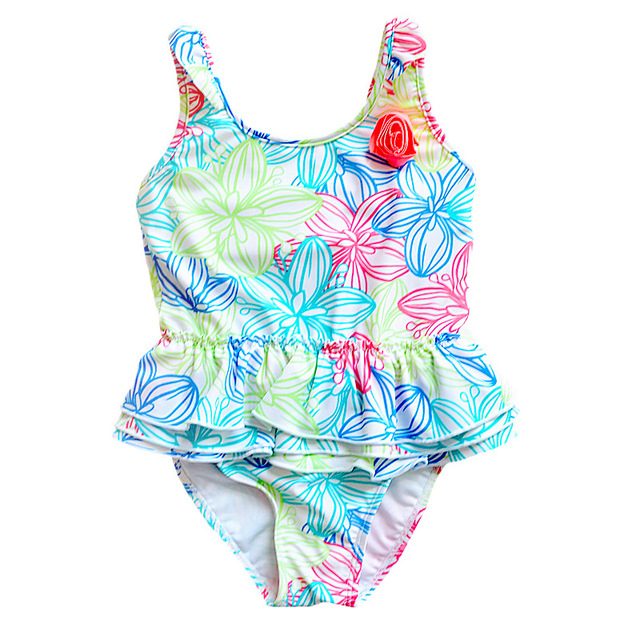 1-8 Years Baby Girl Swimwear Toddler One Pieces Suits Floral Nylon Swimsuit Kids Bathing Suit Children Triangle Swim Clothing