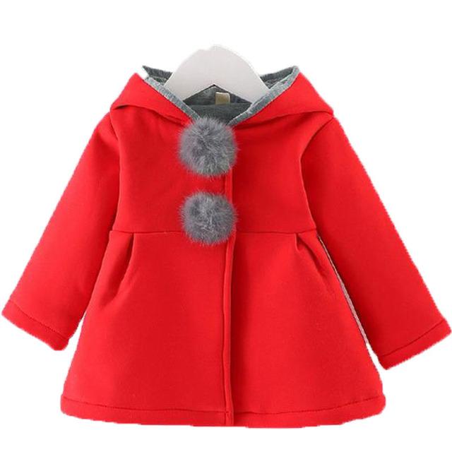 Niños clothing niña abrigos de primavera delgado del oído con capucha de manga larga chaquetas para las niñas 2017 primavera nuevo bebé de la llegada chaquetas
