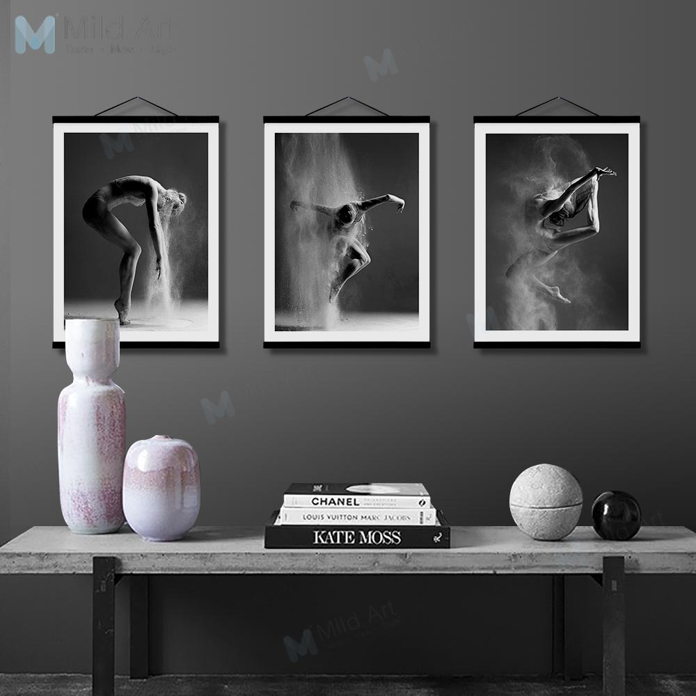 Black white elegant ballet dance girl figure wood framed posters photo nordic wall art picture home decor canvas painting scroll