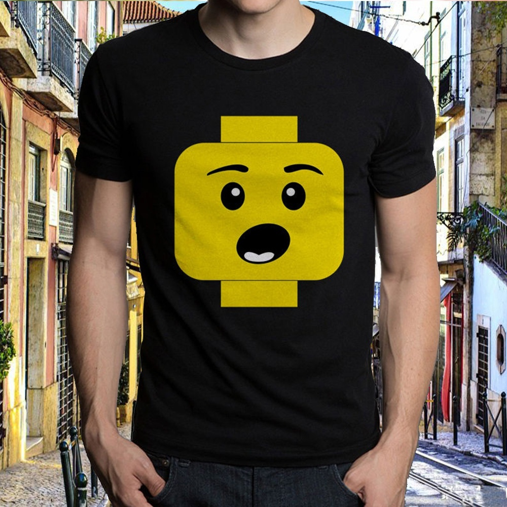 Summer Short Brand Clothing Newest Letter Print Graphic Crew Neck Short Sleeve Style Surprised Expression Lego Head S Xxxl ...