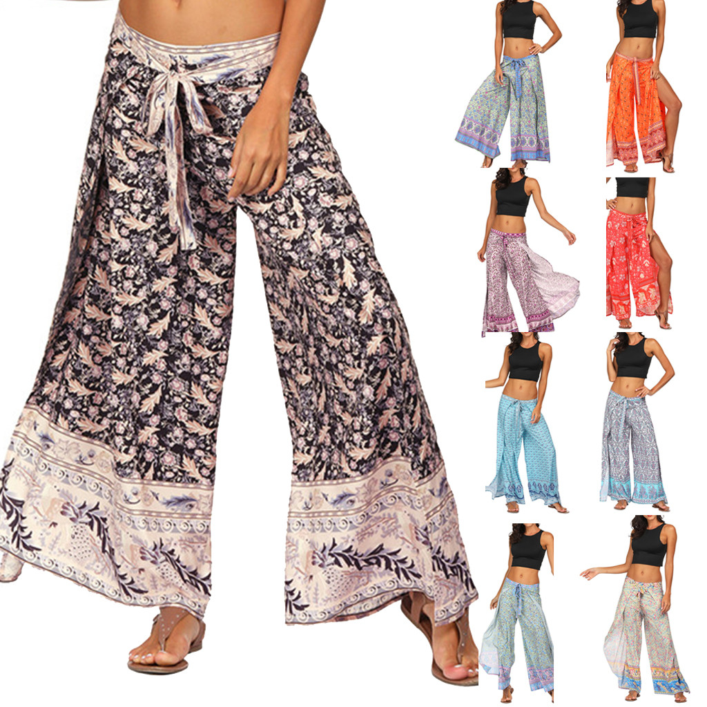 Summer NEW HOT Bohemian Plus Size Loose Pants Women Casual Print Trousers Baggy Aladdin Pants брюки 9 Colors Droppship Freeship