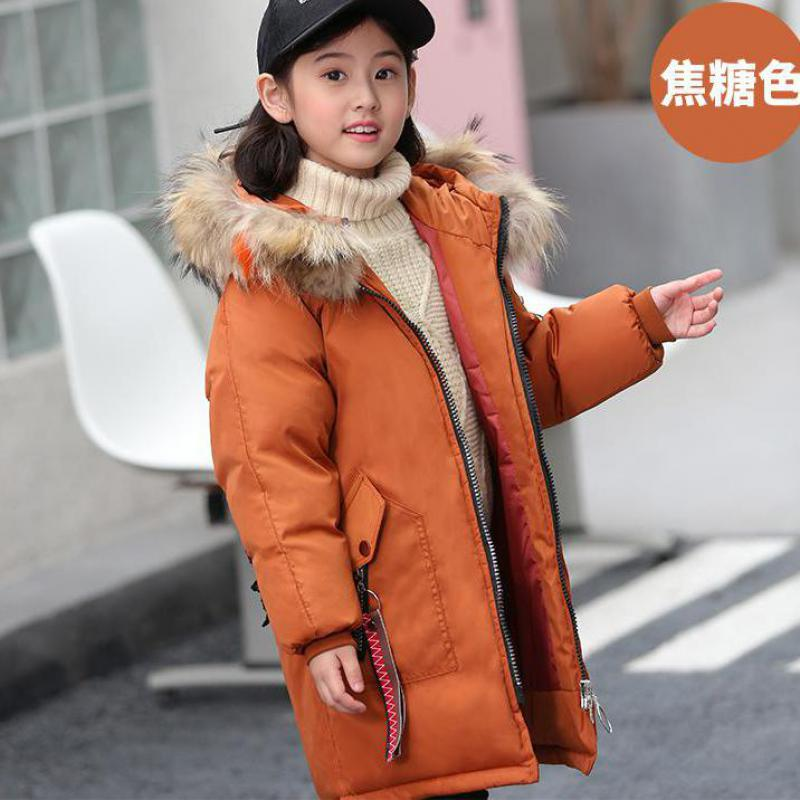 -30 Degrees Girls 80% White Duck Down Outerwear & Coats 2018 New Winter Children Warm Down Clothes Fashion Big Fur Collar Jacket 2013 winter brand fashion luxury natural white fox fur collar hood denim jacket duck down jacket women outerwear s m l xl d2124