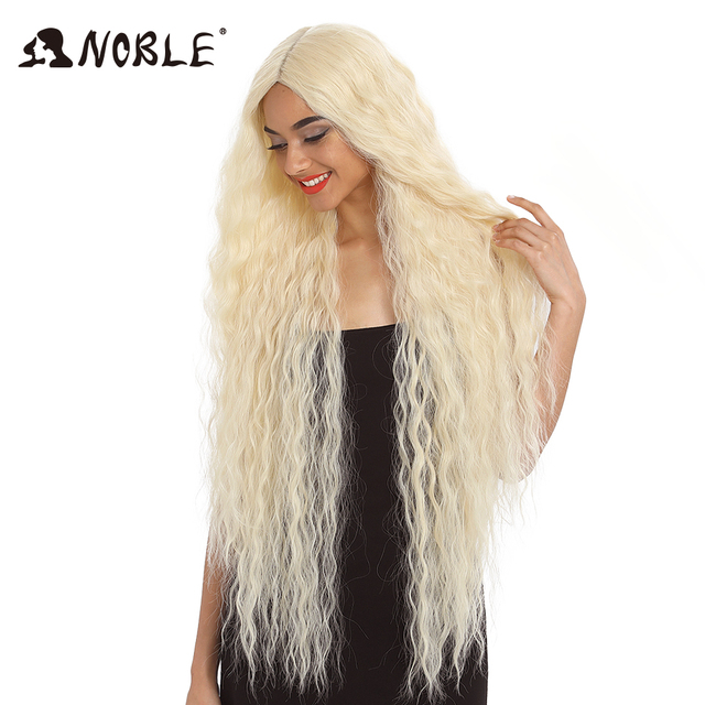 Noble Hair Synthetic Wig Lace Front Synthetic Wig Long Curly Ombre Blonde Wig 42 Inch  613 American Synthetic Lace Front Wig 1