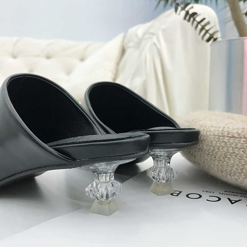 97d86debb3e98 ... Clear heels Slippers Women Shoes luxury rhinestone Slides Ladies  leather closed toe Mules Slip on Sandalias ...