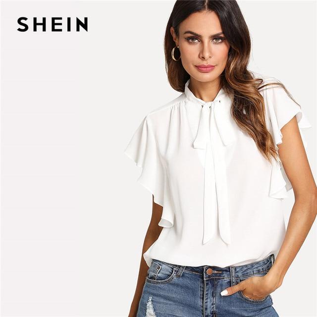 29ffcd7602f6 SHEIN Office Lady Workwear Elegant White Shirt Women Blouses Tie Neck Ladies  Tops Ruffle Trim Summer
