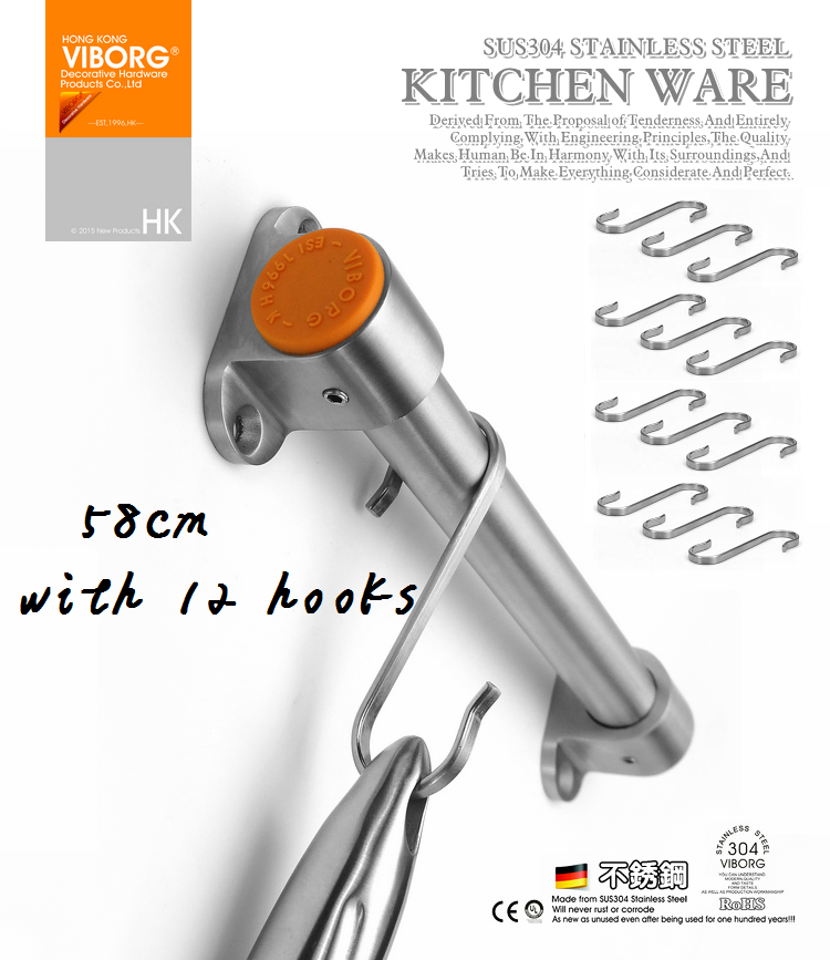 304#SS 58CM Rail Bar With 12 Hooks For Kitchen Utensil Gadget Cooking Tools Cookware Spoon Knife Pot Pan Hanger Holder Rack Hook