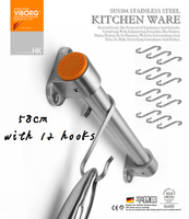 304 SS 58CM Rail Bar With 12 Hooks For Kitchen Utensil Gadget Cooking Tools Cookware Spoon