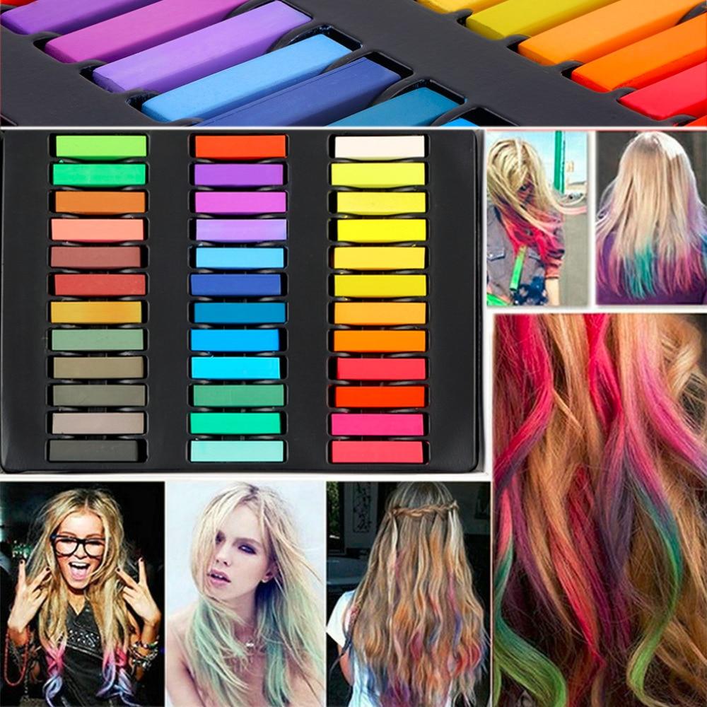 36 couleurs cheveux colorant facile couleurs temporaires non toxique cheveux craie molle pastels kit cheveux - Coloration Cheveux Craie
