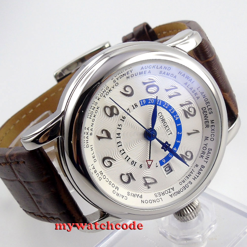43mm corgeut white dial blue hand GMT date window Automatic mens women Watch 39 цена и фото