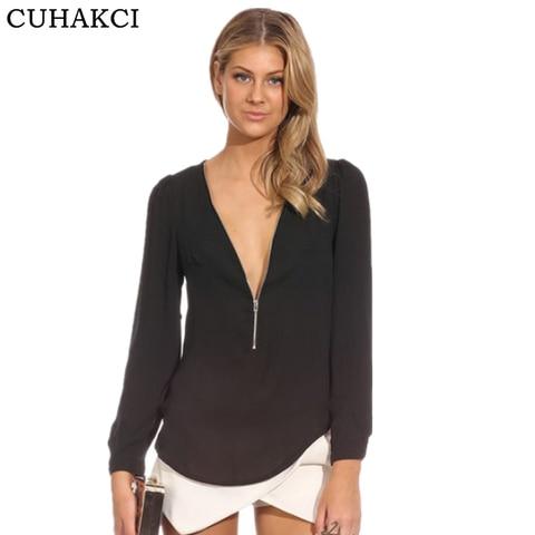 CUHAKCI Women Chiffon Blouse Shirts Deep V Neck Sexy Shirts Long Sleeve Solid Tops Casual Shirt Blusas Feminina Plus Size Shirts Lahore