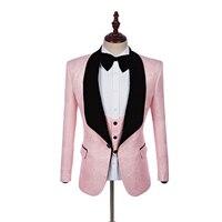 Neue Ankunft Groomsmen Schwarz Schal Revers Bräutigam Smoking Pink Männer Anzüge Hochzeit Trauzeuge Blazer (Jacke + Pants + Tie + Vest)