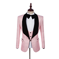New Arrival Groomsmen Black Shawl Lapel Groom Tuxedos Hot Pink Men Suits Wedding Best Man Blazer(Jacket+Pants+Tie+Vest)