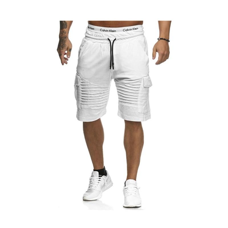 2018 HoT Summer Jogger Sporting Thin Men Black Bodybuilding Short Pants Male Cotton Casual Black And White Hip-hop Shorts