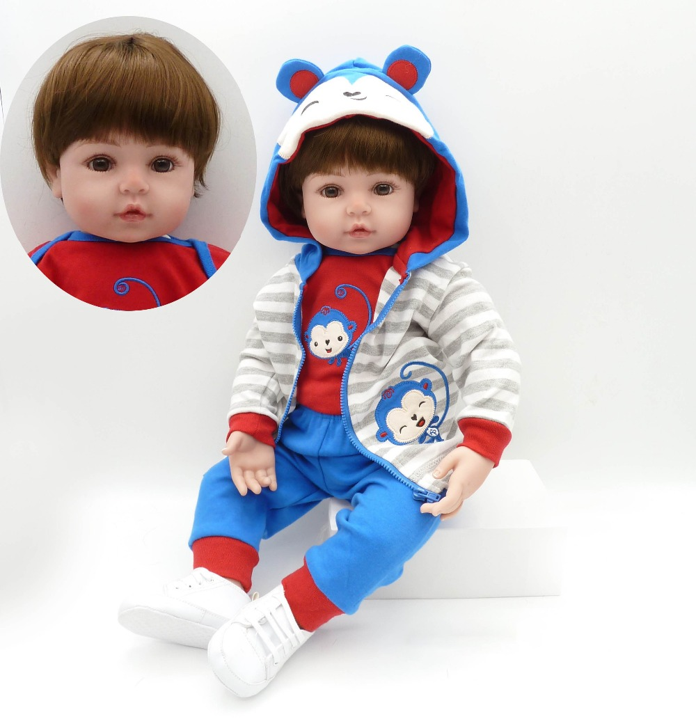 reborn toddler boy 47cm Soft Silicone bebe Doll Reborn Baby Toy For Girls Baby Birthday Gift