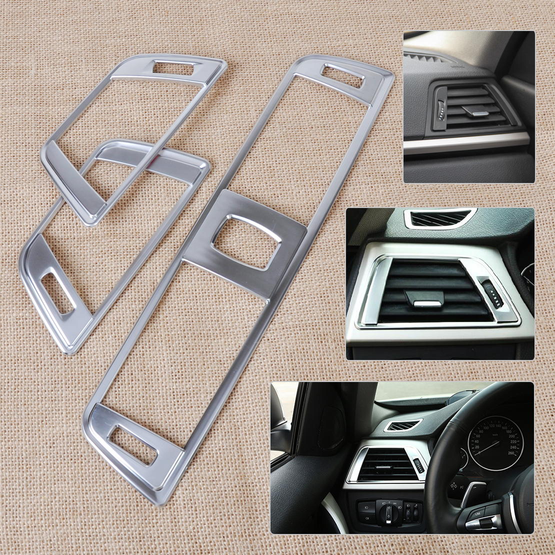Beler 3pcs Set Silver Chrome Dashboard Air Vent Cover Trim