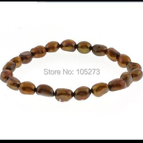 Удивительно! жемчужный браслет А. А. 7-8 мм коричневый цвет пресноводного жемчуга эластичный браслет за Shaper ювелирные изделия nf155b