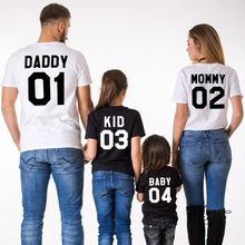все цены на Family look matching outfits look mother daughter mom mum mommy daddy and me son clothes baby kid T-shirt clothing family set YR онлайн