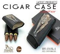 LUBINSKI Black Wolf Case Cigar Humidor Viagens Cigar Hidratante Tubo Portátil Set Segure 3Pcs HY1313L