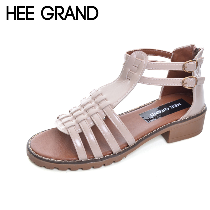 HEE GRAND Gladiator Sandals Summer Platform Casual Buckle Strap Shoes Woman Square heel Size 35-40 XWZ4410 timetang 2017 leather gladiator sandals comfort creepers platform casual shoes woman summer style mother women shoes xwd5583