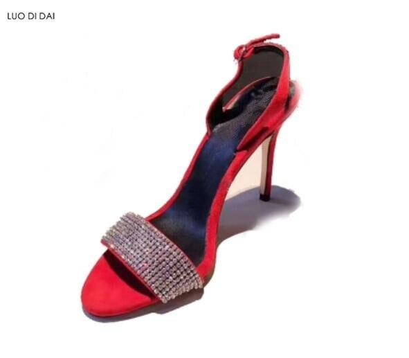 À Étincelle Talons Sandales De Noir Ouvert 2019 Bout Boucles Femmes rouge Diamant Strass Hauts Mariage Chaussures Glitter Cristal Soirée qZHwv6x