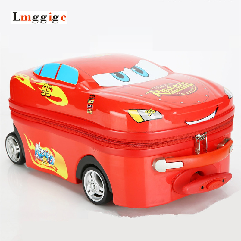 Child Carry on Luggage, Cartoon car Suitcase with wheel ,18Inch 20Inch ABS+PC Trolley box,Boys girls Christmas birthday gift
