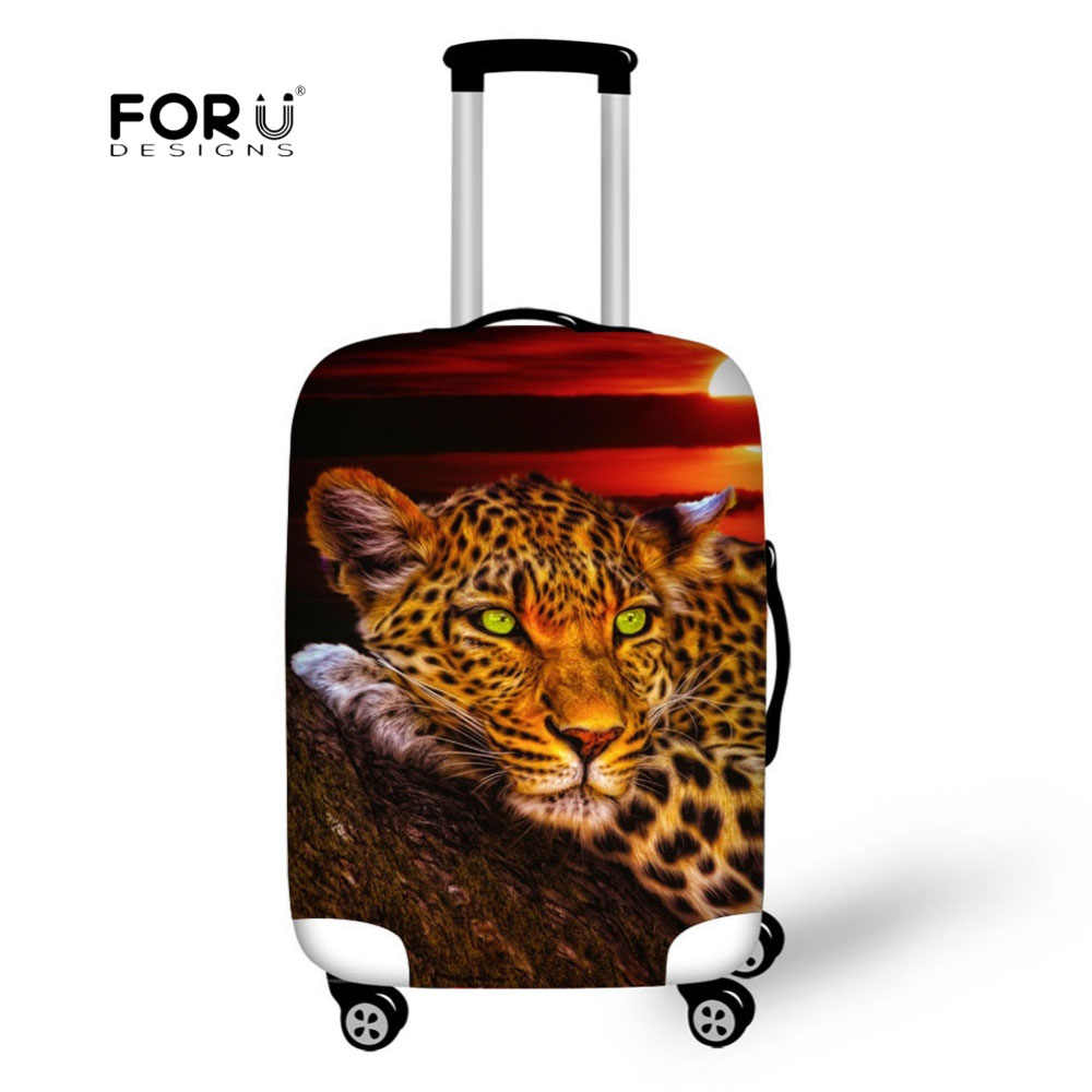 FORUDESIGNS Lion Tiger Print Suitcase Protective Covers Travel Accessory Waterproof Luggage Cover Elasticity Trolley Case Cover