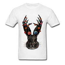 ad9b5665 Hipster Men Tshirts Floral Jackalope Rabbit Graphic T-Shirt For Student  Good Quality Simple Style