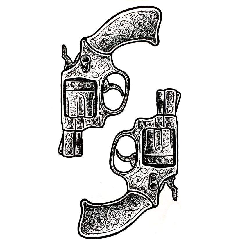 Tattoo Ink Gun Desighns: Revolver Waterproof Temporary Tattoos Men Tattoo Body Art