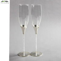 New Silver Plated Metal Champagne Glass Flutes Red Wine Glasses For Wedding Or Party Brandy Goblet