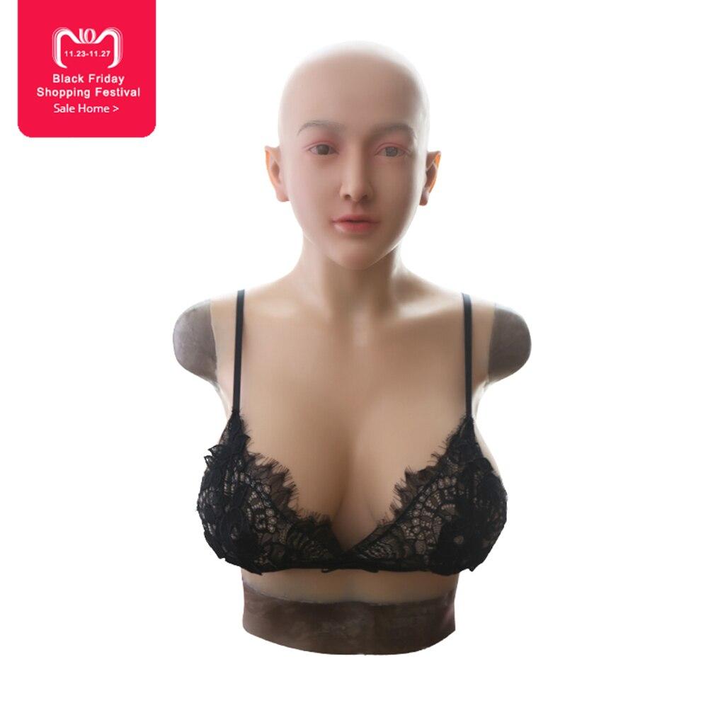 EYUNG Claire femelle pleine tête masque avec de silicone liquide de remplissage du sein plaque pour crossdresser E tasse