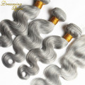 Remy 8A Brizilian Human Hair 3 Bundles Body Wave Silver Grey Ombre Weave With Lace Closure Grey Ombre Brizilian Hair Extensions