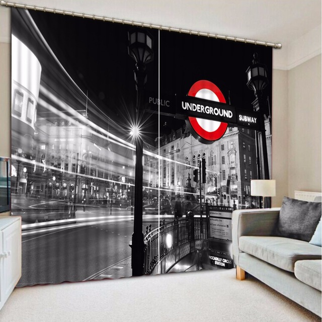Home Decoration Curtains City View Custom 3D Window Curtain For Living Room Black And White