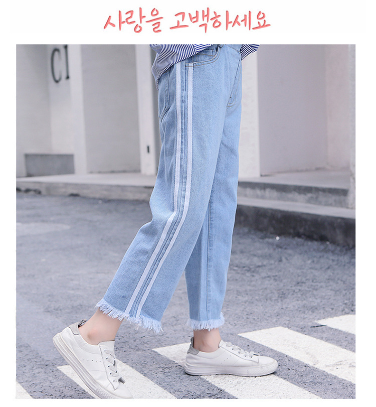 Girls 4-12 Years Spring Autumn Jeans Denim Loose Pants Casual Fashion Raw Edges Side Double Stripes Elastic Waist Jeans Trousers 15
