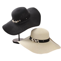 Suogry high quality summer sun hats for women solid large brimmed sun hats black white floppy hats with pearls ladies beach hat