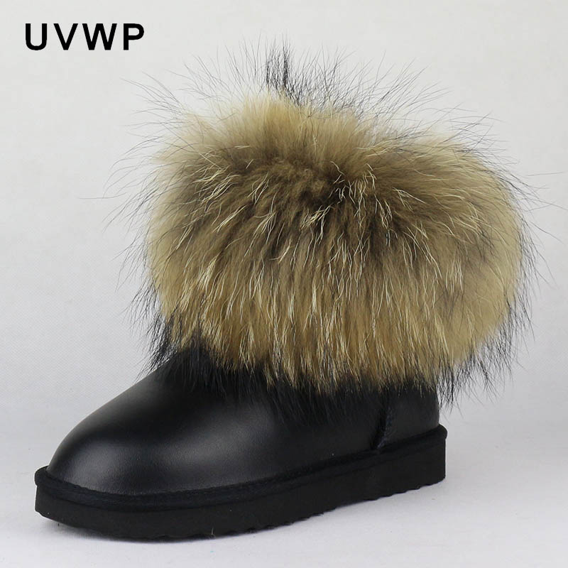 Winter Boots Raccoon-Fur Genuine-Leather Female Fashion Women Warm Top Slip-On Ankle