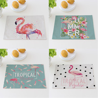 Pink Flamingo Cotton Linen Cloth Potholder Placemat 40X30cm Dining Table Mat Bowl Pad Coasters Table Cloth